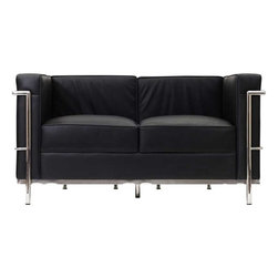 Modway - LC2 Leather Loveseat in Black - Urban life has always a quandary for designers. While the torrent of external stimuli surrounds, the designer is vested with the task of introducing calm to the scene. From out of the surging wave of progress, the most talented can fashion a forcefield of tranquility. Perhaps the most telling aspect of the Charles series is how it painted the future world of progress. The coming technological era, like the externalized tubular steel frame, was intended to support and assist human endeavor. While the aesthetic rationalism of the padded leather seats foretold a period that would try to make sense of this growth. The result is an iconic sofa series that became the first to develop a new plan for modern living. If previous generations were interested in leaving the countryside for the cities, today it is very much the opposite. If given the choice, the younger generations would rather live freely while firmly seated in the clamorous heart of urbanism. The Charles series is the preferred choice for reception areas, living rooms, hotels, resorts, restaurants and other lounge spaces.