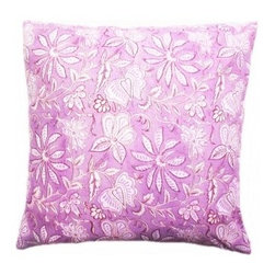 5 Surry Lane - Purple Floral Indian Block Print Pillow - The beautiful art of block printing employs wooden or metal blocks to print designs and patterns on fabric, by hand.  The design is handcarved onto the block, dipped into the required color, and then used to design the fabric.  We're crazy about this authentic Indian block print pillow.  Its' distinctive appeal will infuse your home with a global twist.  Reverses to solid.  Down feather insert included.  Hidden zipper closure.  Made in the USA.