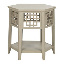 Safavieh - Gafsa End Table - The Gafsa End Table is a melding of the continents. This petite accent piece blends the traditional lines of the hexagonal table with the interlocking squares popular in many Asian-inspired designs. Perfect for a cup of your favorite herbal brew or that vintage lamp looking for a place to perch, it is at home in any room in need of an instant update. Crafted with Bayur wood in pearl taupe painted finish.