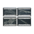 Benzara - Blueprint Style Art with Iconic World Bridges - Blueprint Style Art with Iconic World Bridges. This center piece in each of these is an iconic bridge, a modern marvel of building.
