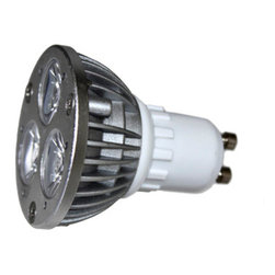 120V 3x1W Pure White MR16 LED Light Bulb (GU10) - Our Pure White LED GU10 Light Bulbs are the perfect replacement for halogen spot lights with a touch of elegance. Because of their bright, directional light, they are best used as direct light to a single area, or to draw attention to works of art. Our LED GU10 Spot Lights feature 3 X 1 watt LED's for maximum lighting with minimal power consumption that will last for years.