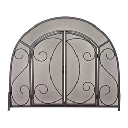 Uniflame - Single Panel Fireplace Screen w Doors & Ornat - Beautiful, sweeping arched frame separates this Fireplace Screen from the rest.  Rugged wrought iron frame built for years of uncompromising quality.  Two doors, also arched, give you easy access to fireplace.  No-wobble base gives this screen sure, steady footing.  Efficient and affordable, you'll also like this item's robust details. * Stylish Screen is Functional and Attractive. Maintains Fireplace Safety. Allows For Ease and Comfort with Fireplace Maintenance. 39 in. W x 32 in. H