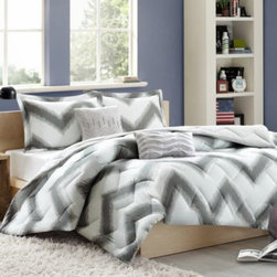 Cozy Soft - Cozy Soft Chevron 4-5 Piece Reversible Comforter Set - Give your bedroom a unique, modern look with the Chevron comforter set. Printed on luxurious Cozy Soft fabric, this set features an eye-catching chevron print in a contemporary palette of grey and white.