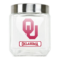 Duck House - Oklahoma Sooners Glass Canister & Lid - Store food in your kitchen pantry using this sporty canister emblazoned with the logo of your family's favorite team.   Includes canister and lid Glass Imported