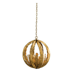Arteriors - Leilani Pendant - Using a traditional iron leaf motif, we have crafted a four light sphere chandelier with an unique stair-step candle arrangement on the interior, which results in staggered bulb placement. The gold leaf finish is as elegant as the design. Great for staircases, as it looks as beautiful from the top as it does from the bottom. Shown with clear bent tip candelabra bulbs. Takes six 25 watt bulbs.