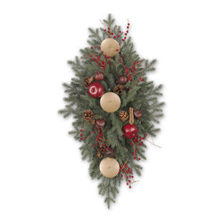 """Balsam Hill - 36"""" Balsam Hill® Heritage Spice Artificial Christmas Mailbox Swag - Our Heritage Spice mailbox swag is the perfect addition to your holiday decorations. Pine cones, berries, apples, cinnamon sticks, and pomegranates are nestled within the lush boughs of this swag, creating an inviting radiance that no mailman or visitor can resist. Our hand-crafted mailbox swags have been featured on TV shows such as """"Ellen"""" and """"The Today Show"""" and are a recipient of the Good Housekeeping Seal of Approval. Balsam Hill swags hang beautifully, are made of flame-retardant and non-allergenic materials, and are covered by our popular 5-year foliage and 3-year light warranties. Free shipping when you buy today!"""