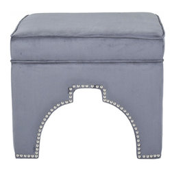 Safavieh - Hollie Ottoman - Rest your feet on the globally-inspired Hollie ottoman with Moorish arch cutout outlined in handsome silver nail heads. Beautifully upholstered in chic and practical grey brushed polyester with a velvet hand, this fashionable ottoman is crafted of sturdy wood.  Equally good looking alone or in pairs, Hollie combines comfort and style in the living room, family room or bedroom.