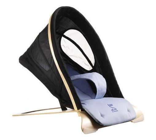 Bouncer in Black / Baby Blue - You vow to give your child the best comfort yet you refuse to give up your good taste in the process. Well this black and blue bounder is for you. Sleek and safe, this unique number will have you and baby cooing.