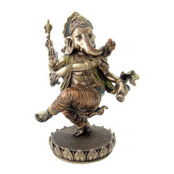 TLT - 8 Inch Cold Cast Bronze Finish Colorful Dancing Ganesha Statue - This gorgeous 8 Inch Cold Cast Bronze Finish Colorful Dancing Ganesha Statue has the finest details and highest quality you will find anywhere! 8 Inch Cold Cast Bronze Finish Colorful Dancing Ganesha Statue is truly remarkable.