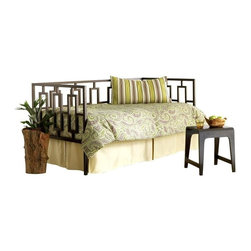 Leggett/Platt Fashion Bed - Miami Daybed in Glossy Black Finish (w Link S - Choose Type: w Link SpringUrban with an industrial edge, the artistic, angular design of this innovative daybed will be an inspired addition to any decor. Perfect for a downtown loft, the daybed is a great way to add extra seating or a guest bed and is crafted of metal in a rich coffee finish. Chic and modern, while still being comfortable and classic. All clean lines with straight back and arms decorated with elongated vertical rectangles. Coffee finish mellows the severity of the angles by adding a warm color and slight texture. This daybed will truly blend into any contemporary house to be utilized for seating or sleeping. A trundle unit can be hidden underneath for any additional bunking necessities. Made of metal. Glossy Black finish. 38.625 in. W x 78.5 in. D x 38 in. H (85 lbs.)
