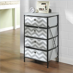 Altra Furniture 4-bin Storage System in Gray and White Chevron pattern - Three words: Assembly not required. Put away your Allen wrench — being organized has never been easier or more fashionable. The metal frame and drawers simply unfold into shape. With an updated chevron pattern that's stylish enough for any room.