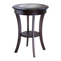 Winsome - Cassie Round Accent Table with Glass - Round wood accent table has a solid wood frame with glass top. The 20 in. diameter top is a great size for a lamp, floral or photo display. Curved legs give the table a traditional as well as contemporary look. Finished in a rich cappuccino color, it coordinates with many room decors.