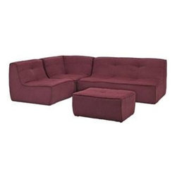 "LexMod - Align 4 Piece Upholstered Sectional Sofa in Berry - Align 4 Piece Upholstered Sectional Sofa in Berry - There are sectional sets that claim to be modern by portraying some enlightened path forward. But for every one of these efforts, is an equal and opposite reaction. The more we use our own guile to paddle forward, the more the stream of present reality seems to rush against us. Align was designed as an attempt to wash away those hindrances that obstruct growth. If there had been a choice, the designers would have kept Align just that. But while a sectional sofa set needs to be made curved, the intent was to stay true to the original concept. Align comes generously padded and upholstered in fine fabric, with slight button tufting and trim for only the gentlest effect. Set Includes: One - Align Upholstered Chair One - Align Upholstered Corner One - Align Upholstered Loveseat One - Align Upholstered Ottoman Modern sectional sofa, Upholstered in fine fabric, Foam padded cushions, Slight trim and button tufting, Wipe clean with dry cloth, Solid wooden legs, Black plastic foot glides Overall Product Dimensions: 102""L x 85""W x 29.5""H Loveseat Dimensions: 40""L x 32.5""W x 29.5""H Corner Sofa Dimensions: 40""L x 40""W x 29.5""H Ottoman Dimensions: 23.5""L x 31""W x 14""H Chair Dimensions: 40""L x 32.5""W x 29.5""H Seat Dimensions: 24""W x 15""H - Mid Century Modern Furniture."