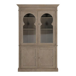 Gabby - KEYSTONE CABINET - With our Keystone Cabinet, we found inspiration in some of our French provincial antique finds. This piece features adjustable shelves and keystone glass doors. The solid wood with a natural finish emphasizes the French farmhouse feel. Stands 84.5 inches tall.