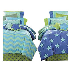 Little Miss Matched - Marvelous Waves Stars 8pc Reversible Queen Bed-in-Bag - FEATURES:
