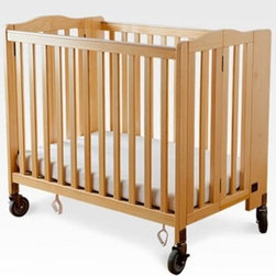 Simmons Foldaway Evacuation Crib - Natural - Standard cribs are fine if you don't mind letting a child stay in them all day long; but if you want them to have room to get out and move around, the Simmons Foldaway Evacuation Crib - Natural gives you that ability to free up space for multiple activities. Particularly useful when caring for multiple children or when space is at a premium, these cribs can be easily folded up and moved aside to provide you and your active kiddos plenty of room to play and explore. The folded crib secures tightly with Velcro tabs, and the central metal support for the mattress ensures that baby won't be pinched when sleeping in it. This support structure, along with the crib's locking caster system and three-inch-thick Simmons Kids mattress, will also ensure quality rest, which will affect everything from their daily mood to long-term wellness and ability to learn and process.Because Simmons is a master of sleep products, it only makes sense to start children out with well-researched Simmons Kids technology. When baby is awake, chances are he or she is going to be gnawing away at the rail at some point, trying to bring those teeth in. Not to worry, the Phthalate-free plastic teething rail keeps the child safe and the crib clean, because there's no reason that safety can't still look nice. This natural wood crib has a simple and attractive design that creates a classic nursery feel, and its four-inch rubber casters won't damage your floors. Above all, Simmons knows that safety is priority number one for care givers, designing this crib to meet or exceed all federal safety standards. So you can be sure that the children in your care will be covered no matter what circumstances may arise. Its compact size and caster system allow this crib to slip easily through any doorway in the event of an emergency. Even when there isn't an emergency, this can be useful in keeping all kids within eyesight - a real challenge otherwise when working with children in a whole range of ages.Simmons Kids: The Natural Choice for Mom and BabyFrom a company equated with a good night's sleep come the same high quality products geared for babies and kids. Exciting lines and collections offer the latest and enduring styles for the nursery and the years beyond. Convertible cribs, beautiful dressers and chests, and everything else you can imagine for the nursery is well-crafted by Simmons. Best of all, every piece of Simmons Kids Furniture meets or exceeds federal safety standards.