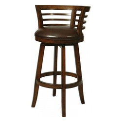 "Pastel - Ortona Swivel Barstool OR-225 - Stallion Brown - 26"" - This handsomely crafted Ortona wood barstool features a quality wood finish in Distressed Cherry with sturdy legs and foot rest. An ideal way to add a touch of traditional flair to any dining or entertaining area in your home. The padded seat is upholstered in Strallion Brown offering comfort and style. (Available in 26"" counter height or 30"" bar height)."