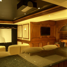 Traditional Home Theater by WL INTERIORS