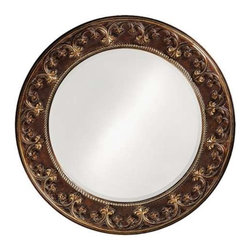 Howard Elliott Crescent Round Mirror - This round mirror features a resin frame beautifully carved with a scroll and fleur de lis pattern. The piece is then finished with a French brown color then accented with antique bronze giving the Crescent Mirror its Traditional style.