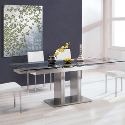 Zoe Expandable Dining Set - $1,312.31 - This expandable dining set features an ultra modern dining table that will dramatically enhance your dining room decor.