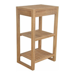 Anderson Outdoor Furniture - Spa 2-Shelves Towel Table - Stash spare towels in style. This solid teak table and shelf would look as perfect next to your pool as it would dressing up your master bath.