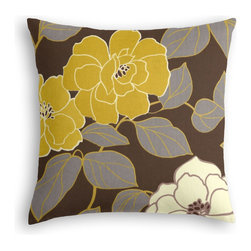 Brown & Yellow Modern Floral  Custom Throw Pillow - The every-style accent pillow: this Simple Throw Pillow works in any space.  Perfectly cut to be extra fluffy, you'll not only love admiring it from afar but snuggling up to it too!  We love it in this stylized oversized floral in modern hues of mustard & lilac gray against chocolate brown.