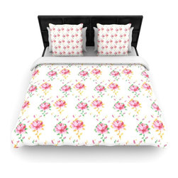 "Kess InHouse - Laura Escalante ""Cross Stitch Flowers"" White Pink Fleece Duvet Cover (Twin, 68"" - You can curate your bedroom and turn your down comforter, UP! You're about to dream and WAKE in color with this uber stylish focal point of your bedroom with this duvet cover! Crafted at the click of your mouse, this duvet cover is not only personal and inspiring but super soft. Created out of microfiber material that is delectable, our duvets are ultra comfortable and beyond soft. Get up on the right side of the bed, or the left, this duvet cover will look good from every angle."