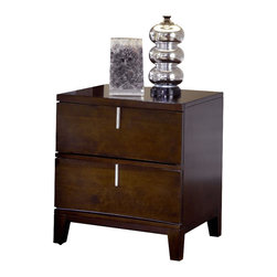 Modus Furniture - Modus Furniture Legend Wood Two Drawer Nightstand in Chocolate Brown - Modus Furniture - Nightstands - 2L2681 - With subtle flowing lines the Legend Wood bedroom embodies casual contemporary design. Bentwood drawer fronts framed within horizontal parting rails are complemented by a precision-cut stacked wave pattern on the headboard. A satin chrome bar pull mounted vertically at the apex of each drawer face completes the look.Crafted from Mahogany solid wood and Cherry wood veneer Legend Wood features a Chocolate Brown NC Lacquer finish with tones ranging from Ebony to medium Cherry just light enough to reveal the handsome natural characteristics of the Cherry veneer including gum streaks pin knots and random swirls.Legend Wood is available with a wide range of casegoods including multiple dresser and mirror options and a choice of platform bed designs both of which are available with or without under-bed drawer storage. Casegoods feature sanded and stained solid wood drawer boxes mounted on full extension ball bearing glides. Drawers are French dovetailed in the front English dovetailed in the back. Dresser and chest top drawers are felt lined for storing delicate items.