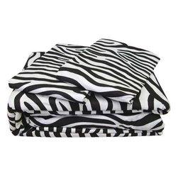 Wholesale Merchandisers Inc - 4pc Zebra Stripes Animal Print Bedding Queen Sheet Set - Features: