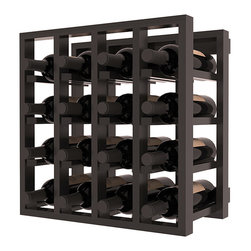 Lattice Stacking Wine Cubicle in Redwood with Black Stain + Satin Finish - Designed to stack one on top of the other for space-saving wine storage our stacking cubes are ideal for an expanding collection. Use as a stand alone rack in your kitchen or living space or pair with the 20 Bottle X-Cube Wine Rack and/or the Stemware Rack Cube for flexible storage.