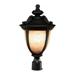 Three Light Black Amber Mottle Glass Post Light - With a striking design influenced from centuries past, this large outdoor post light is truly a work of traditional elegance. Finished in black, the majestic curves and feathered details work perfectly with the mottled amber glass, which casts a rich glow. Made of cast aluminum, these fixtures will stand up to all of nature's elements. All posts come with mounting template, bolts, and cap nuts.
