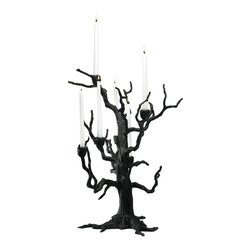 """Cyan Design - Cyan Design Tree Table Candleholder X-13820 - The natural tree shape of this Cyan Design candle holder gives it a casual but versatile look that will also complimented formal settings. The nature-inspired design has been constructed with iron and stands at a captivating 25"""" height. It also features a dark toned Old World finish that completes the look beautifully."""