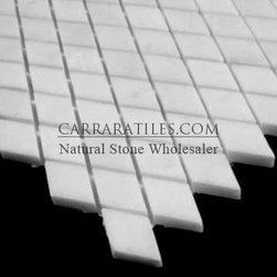 Statuary Marble Italian White Statuario Diamond Mosaic Tile Polished - Bianco Statuario Diamond Mosaic Tile also known as White Statuary Diamond Mosaic Marble. Available in polished finish, premium grade (rhomboid) Diamond mosaic tile is perfect for both residential and commercial projects. (rhomboid) Diamond Mosaic Tiles are mainly preffered as floor tiles for their clean, aesthetic qualities. A large selection of coordinating products are available and includes Statuario basketweave mosaics, Statuario herringbone mosaics, Statuario hexagon mosaics, 3x6 marble subway tiles, 12x12 Statuario marble tiles, 4x4 Statuario marble tiles, Statuario borders, Statuario moldings and Statuario baseboards