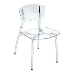 Girari - Acrylic Chair, Polished Aluminum - Girari's Flagship chair features an acrylic seat and back supported by a cast aluminum frame and legs.  Entire hand made in Los Angeles.