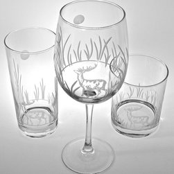 Rolf - Deer Footed Iced Tea Goblets - A stag seen in the woods is always exciting. Embodying the spirit of the strong, and the proud, our deer designs enhance any decor.Perfect for the deer hunter, or nature lover! This playful silhouette is illuminated by a full moon, delicately etched into the proverbial night sky.                                          * Set of 4 Iced Tea  Goblets        * Capacity: 16 oz.