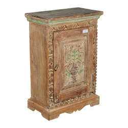 Winter White Floral Vase Old Wood Night Stand End Table Cabinet - Hand carved artistry is put front and center in our Winter White Floral Vase Mini Cabinet. This smart solid hardwood end table offers extra storage space with a two shelf interior cabinet.