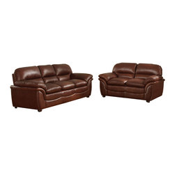 Baxton Studio - Baxton Studio Redding Cognac Brown Leather Modern Sofa Set - This handsome cognac brown bonded leather sofa and loveseat set possesses the appeal of an old, well-loved leather seat. Rich and sophisticated, cozying up with a good book or favorite film on this sofa or loveseat is a comforting respite. Each piece is a wood frame-built marvel with overstuffed foam cushioning (all are attached and non-removable). Black plastic disc feet finish off this loveseat and sofa set. Made in China; fully assembled. To clean, wipe with a dry cloth or use leather conditioner (first tested in an inconspicuous spot).