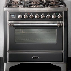 "Ilve - UM906VGGMY Majestic Series 36"" Freestanding Gas Range with 6 Sealed Burners  3.5 - 36 Range with 6 Burners 35 Cu Ft Capacity European Convection Oven Dual Triple Ring Burner Rotisserie Infrared Broiler Digital Clock  Timer 2 Heavy Duty Racks and Removable Oven Door"