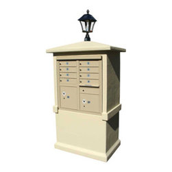 Qualarc, Inc. - Stucco CBU Mailbox Center, Tall Pedestal (Column Only) in Sandstone with Bayview - Decorative Stucco CBU Mailbox Center