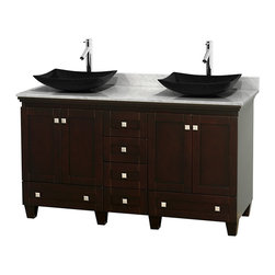"Wyndham Collection - 60"" Acclaim Double Vanity w/ White Carrera Marble Top, Arista Black Granite Sink - Sublimely linking traditional and modern design aesthetics, and part of the exclusive Wyndham Collection Designer Series by Christopher Grubb, the Acclaim Vanity is at home in almost every bathroom decor. This solid oak vanity blends the simple lines of traditional design with modern elements like beautiful overmount sinks and brushed chrome hardware, resulting in a timeless piece of bathroom furniture. The Acclaim comes with a White Carrera or Ivory marble counter, a choice of sinks, and matching mirrors. Featuring soft close door hinges and drawer glides, you'll never hear a noisy door again! Meticulously finished with brushed chrome hardware, the attention to detail on this beautiful vanity is second to none and is sure to be envy of your friends and neighbors"