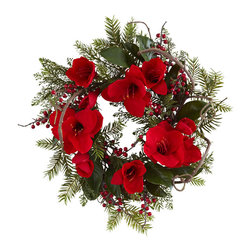 Nearly Natural - 24in. Amaryllis Wreath - Here's a holiday decoration that will grace your wall, door, or mantle for years to come. This large (24') Amaryllis wreath is bright, cheery, and full of holiday spirit. With full Amaryllis blooms, a variety of greens and berries, and a cornucopia of twisting twigs and leaves, this wreath will look different every time you gaze upon it. Plus, it'll never dry out. Makes a fine home or office decoration, and an ideal gift as well.