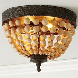 Elena Wood Bead Flushmount | Pottery Barn -
