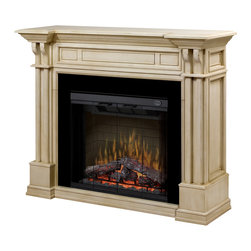 "Dimplex North America - Kendal Electric Fireplace Parchment Mantel with 32"" Trimless Firebox - *Flame technology Our patented flame technology creates a truly realistic fireplace, giving the fire its depth and dancing flame that you will only find with Dimplex."
