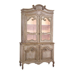 John Richard - John Richard Versailles Cabinet EUR-04-0055 - A finely detailed Mediterranean style display cabinet in a white-washed distressed wood finish. French wire accents the open door fronts. Two dimmable interior lights.