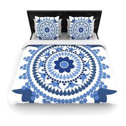 "Kess InHouse - Carolyn Greifeld ""Bohemian Blues"" Blue White Cotton Duvet Cover (King, 104"" x 88 - Rest in comfort among this artistically inclined cotton blend duvet cover. This duvet cover is as light as a feather! You will be sure to be the envy of all of your guests with this aesthetically pleasing duvet. We highly recommend washing this as many times as you like as this material will not fade or lose comfort. Cotton blended, this duvet cover is not only beautiful and artistic but can be used year round with a duvet insert! Add our cotton shams to make your bed complete and looking stylish and artistic!"