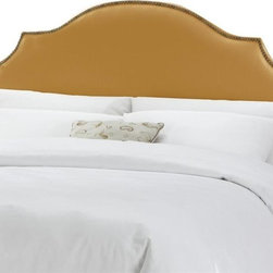 Skyline Furniture - Notched Nail Button Headboard w Foam Padding - Choose Size: Full/QueenAdjustable legs. Plush foam padding. Attaches to standard bed frames. Made from 57% cotton and 43% rayon. Made in the USA. Minimal assembly required. Twin: 41 in. L x 4 in. W x 54 in. H (24 lbs.). Queen: 63 in. L x 4 in. W x 54 in. H (30 lbs.). King: 78 in. L x 4 in. W x 54 in. H (41 lbs.). California king: 74 in. L x 4 in. W x 54 in. H (36 lbs.)Silk notched nail button headboard