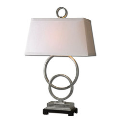 Uttermost - Lorida White Table Lamp - Lightly Distressed White Glaze With Raw Ceramic Undertones And Polished Nickel Plated Details. The Oval Semi-bell Shade Is A Bronze Linen Fabric With Brown Trim.