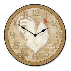 "Tyler - French White Hen Clock, 18"" - Charming KItchen Clock"