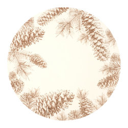"""Hester & Cook Design Group - Pinecone 16"""" Round Placemat - 16"""" round paper placemat with a pinecone design."""
