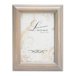 Lawrence Frames - Weathered Gray Wood 4x6 - Beautiful distressed Muted Gray wood picture frame.  Hand finished so that every piece is unique and different.  Designer wood picture frame has a casual but elegant decorative look.  High quality Muted Gray velvet backing.  Frame can stand vertically or horizontally and comes with hangers for horizontal or vertical wall mounting.   Individually boxed.